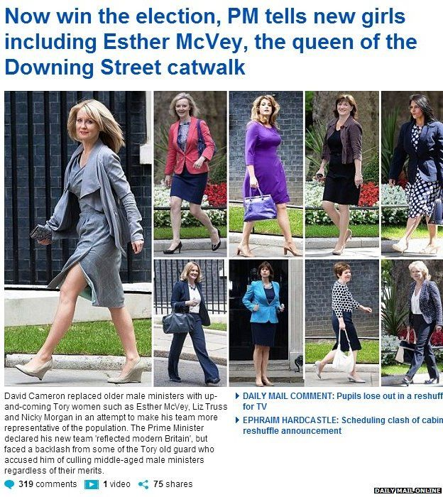 Daily Mail coverage of cabinet reshuffle