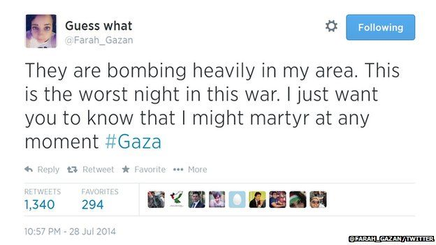 A 16-year-old girl is believed to have taken to Twitter during a bomb attack by Israel.