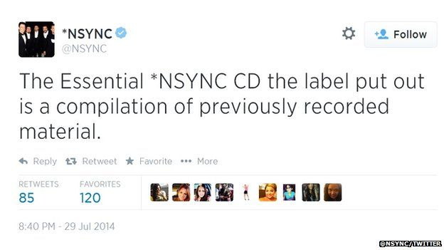 A tweet from *NSYNC's official account confirmed new album is a compilation of previously recorded material.