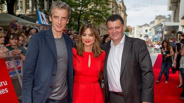 Peter Capaldi, Jenna Coleman and the show's lead writer Steven Moffat on the red carpet