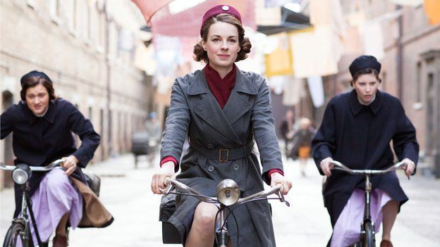 The cast of Call the Midwife on bicycles