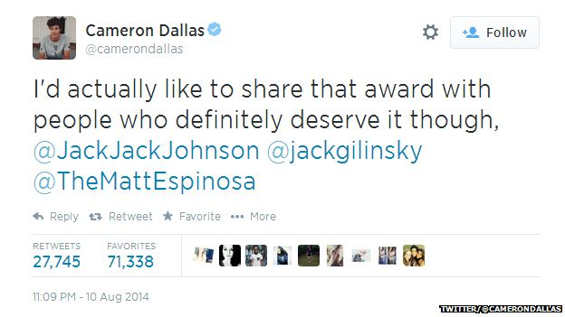 "Tweet from Cameron Dallas reading: ""I'd actually like to share that award with people who definitely deserve it though, @JackJackJohnson @jackgilinksy @TheMattEspinosa"