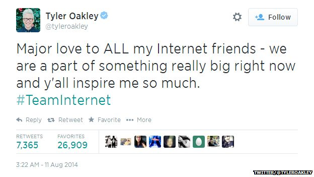 "Tweet from Tyler Oakley reading: ""Major love to ALL my Internet friends, we are part of something really big right now and y'all inspire me so much. #TeamInternet"