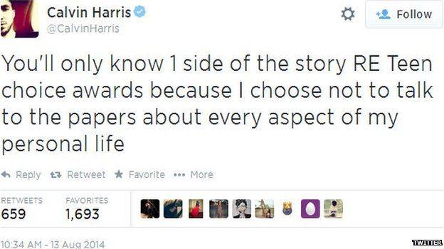 Calvin Harris tweet