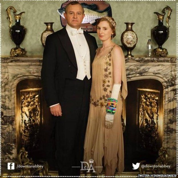 The Early of Grantham and Lady Edith who is wearing loom bands and posing in front of a Big Mouth Billy Bass