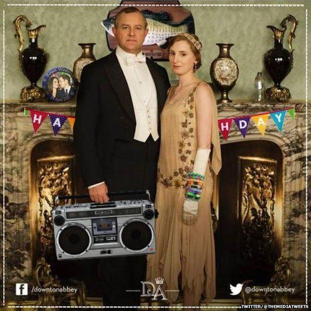 The Early of Grantham carrying a boom box and Lady Edith who is wearing loom bands and posing in front of a Big Mouth Billy Bass