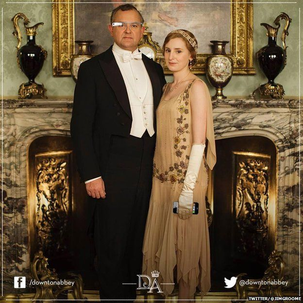 The Earl of Grantham wearing Google Glass and Lady Edith holding an iPhone