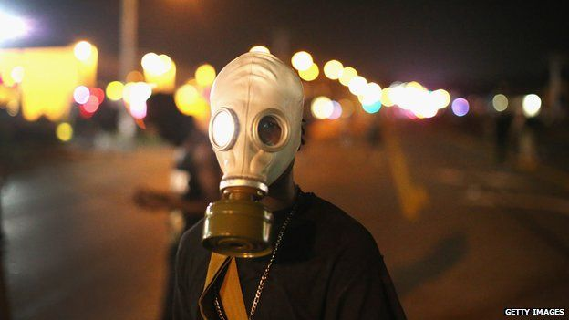 Person wearing a gas mask