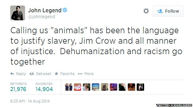 """Tweet from John Legend reading: """"Calling us 'animals' has been the language to justify slavery, Jim Crow and all manner of injustice. Dehumanization and racism go together."""""""