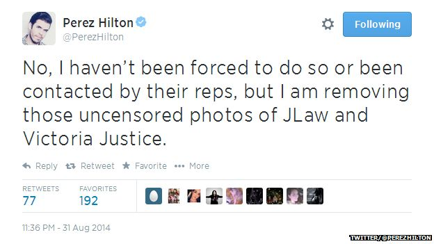 """Tweet from @PerezHilton reading: """"No, I haven't been forced to do so or been contacted by their reps, but I am removing those uncensored photos of JLaw and Victoria Justice."""""""