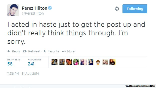 """Tweet from @PerezHilton reading: """"I acted in haste just to get the post up and didn't really think things through, I'm sorry."""""""
