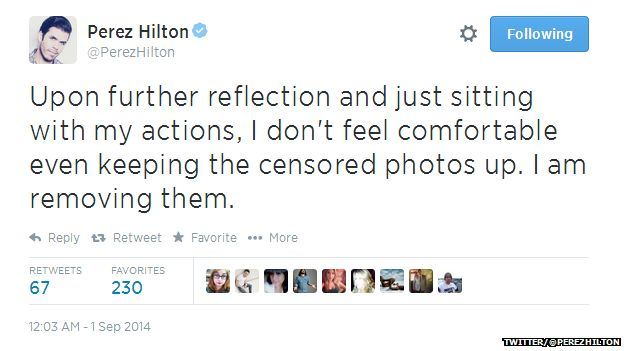 """Tweet from @PerezHilton reading: """"Upon further reflection and just sitting with my actions, I don't feel comfortable even keeping the censored photos up. I am removing them."""""""