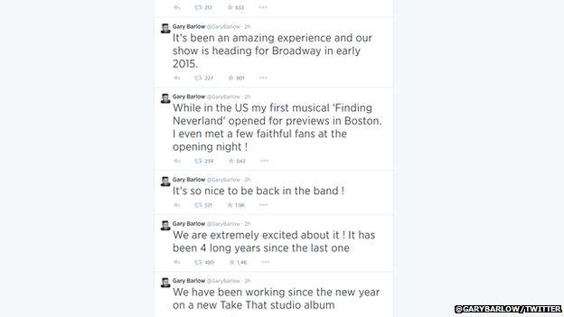 Gary Barlow tweets
