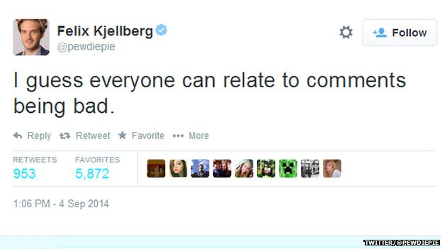 """Tweet from @pewdiepie reading: """"I guess everyone can relate to comments being bad."""""""