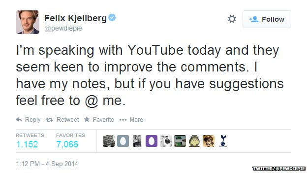"""Tweet from @pewdiepie reading: """"I'm speaking with YouTube today and they seem keen to improve the comments. I have my notes, but if you have suggestions feel free to @ me."""""""