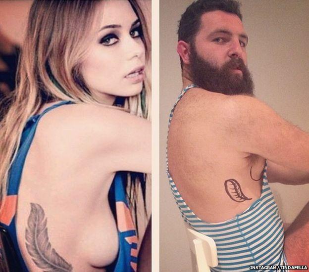 Tindafella copying woman with tattoo
