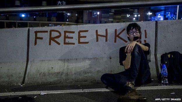 Protestor in Hong Kong