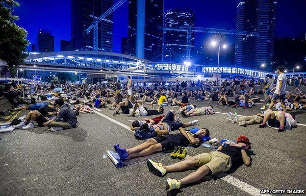 Protestors sleep in Hong Kong