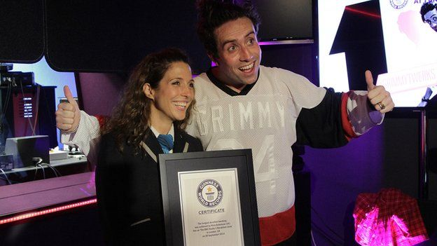 Guinness World Record official and Nick Grimshaw