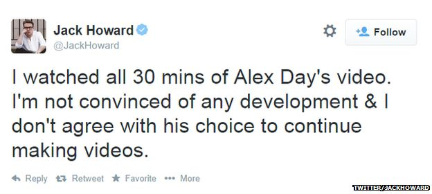 tweet criticising alex day