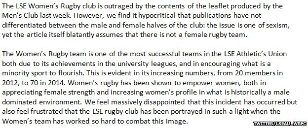 Statement from Women's rugby team at LSU