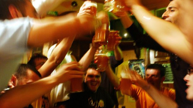 Students drinking during Freshers' Week