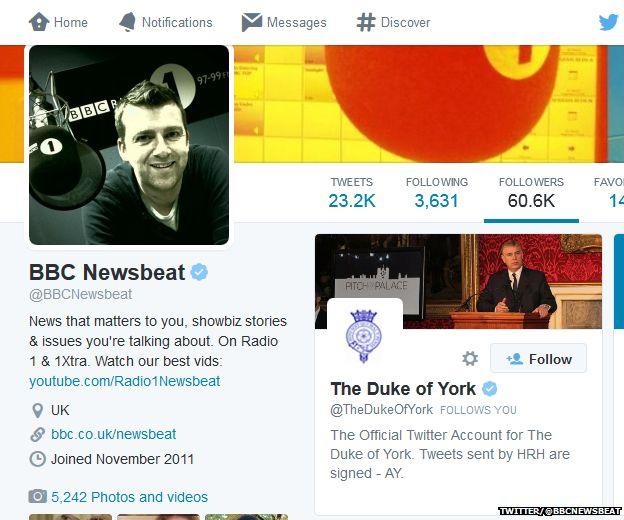 BBC Newsbeat's Twitter page showing The Duke of York's follow