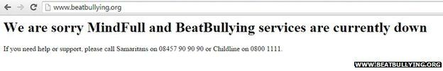 Webpage of BeatBullying