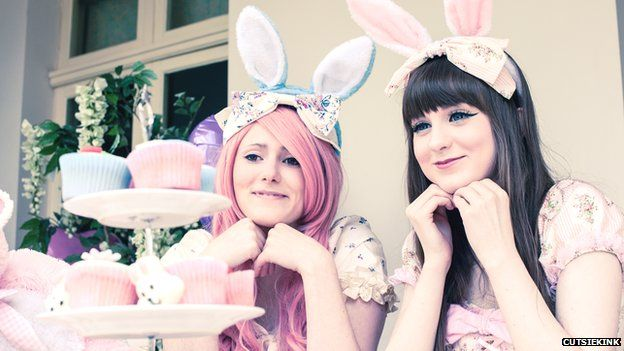 Two girls modelling Kawaii clothes for Cutsiekink