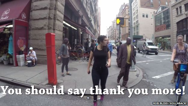 Comment in street: You should say thank you more