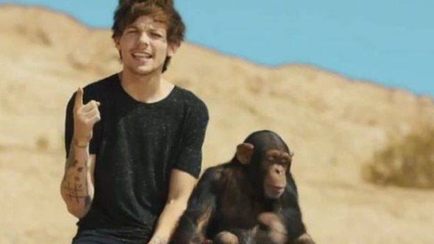 One Direction's Louis with chimpanzee