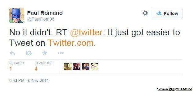 "Tweet from @PaulRom95 reading: ""No it didn't. RT @twitter: It just got easier to Tweet on Twitter.com."""