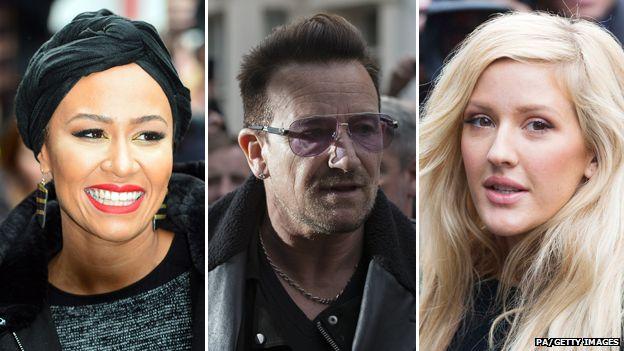 Emeli Sande, Bono and Ellie Goulding (left-right)
