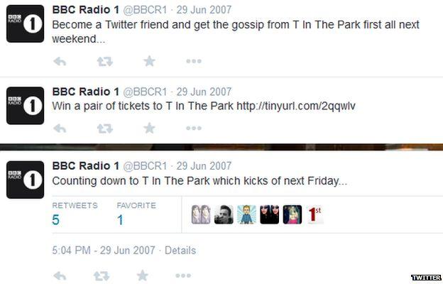 Radio 1's first tweets