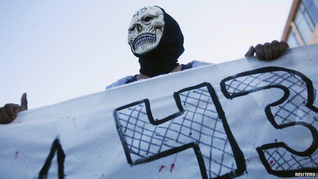 Protestor in mask