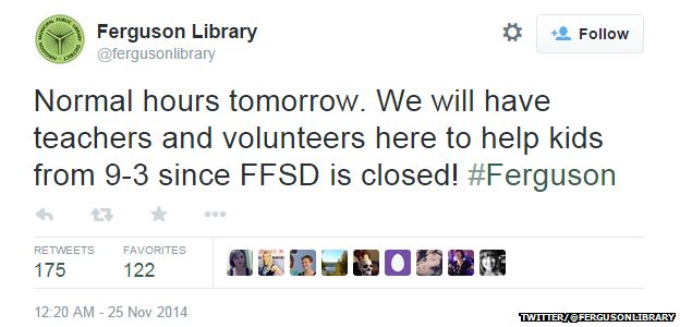 "Tweet from @fergusonlibrary reading: ""Normal hours tomorrow. We will have teachers and volunteers here to help kids from 9 - 3 since FFSD is closed! #Ferguson."""