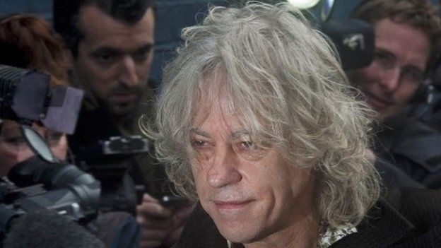 Bob Geldof arrives to record the Band Aid 30 charity single at the Sarm Studios in London on 15 November 2014