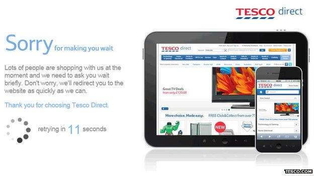 Tesco website holding page