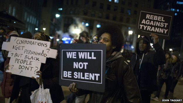 Protesters demonstrate during a protest in New York