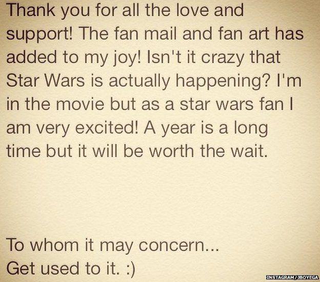 John Boyega message on Instagram