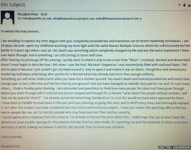 Ros' email to Parklife.