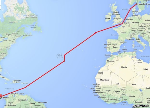 Message In A Bottle Travels Years From Sweden To Panama BBC - Sweden map distance