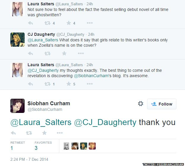 Twitter exchange to @Siobhan Curham