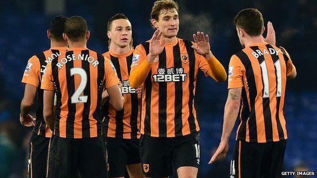 Hull City players celebrate