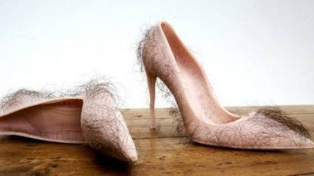 Hairy high heels called 'grossest shoes of all time' - BBC Newsbeat