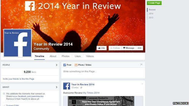 Facebook Year in Review page