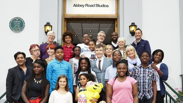 "Gareth Malone's All Star Choir comprised of Alison Steadman, Linda Robson, Nitin Ginatra, Craig Revel Horwood, John Craven, Radzi Chinyanganya, Mel Giedroyc, Jo Brand, Fabrice Muamba, Margaret ""The Machine"" Alphonsi, Alice Levine and Larry Lamb."