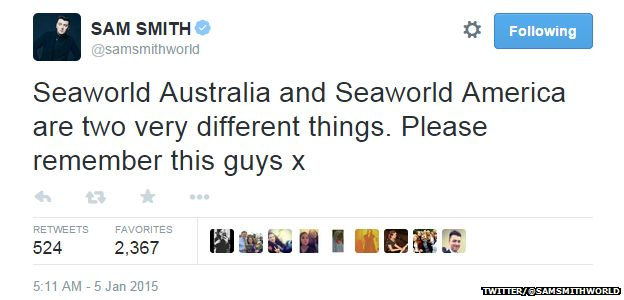 """Tweet from @samsmithworld reading: """"Seaworld Australia and Seaworld America are two very different things. Please remember this guys x"""""""