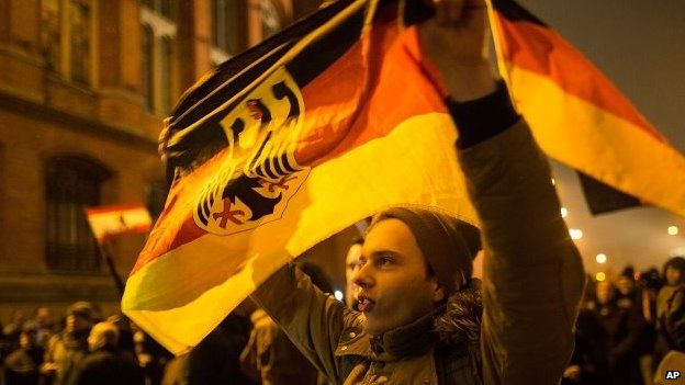 A supporter of the Pegida movement holds a flag in a demonstration on January 5, 2015