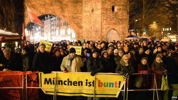 Anti-Pegida marchers in Munich